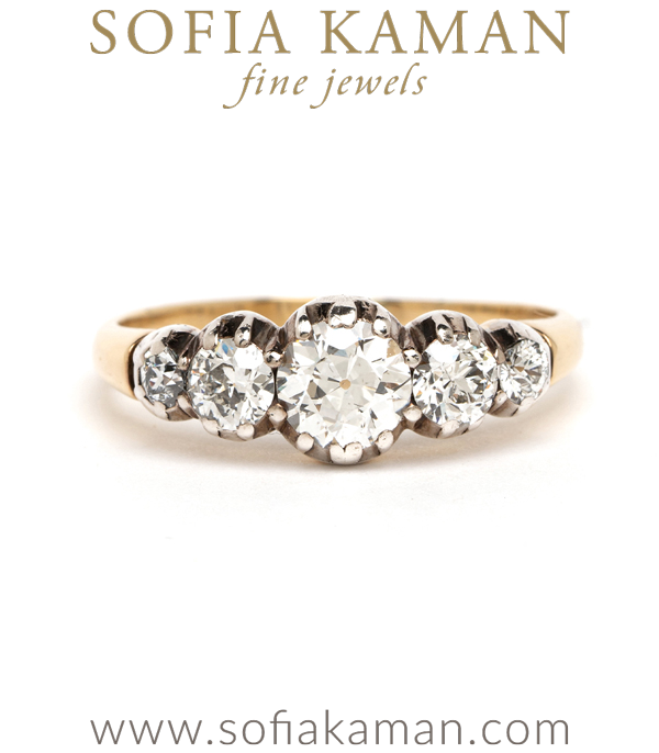 Victorian 5 Old Mine Cut Diamond Vintage Engagement Ring curated by Sofia Kaman.