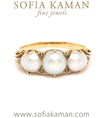 Vintage Victorian Pearl Unique Engagement Ring curated by Sofia Kaman