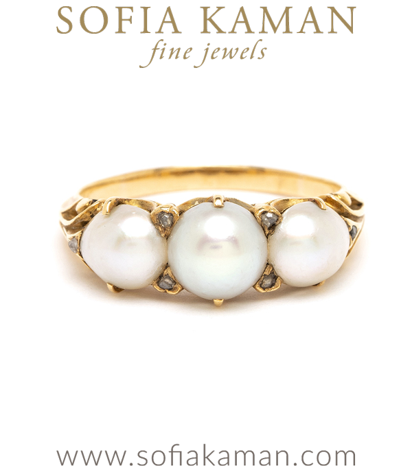 Vintage Victorian Pearl Unique Engagement Ring curated by Sofia Kaman.