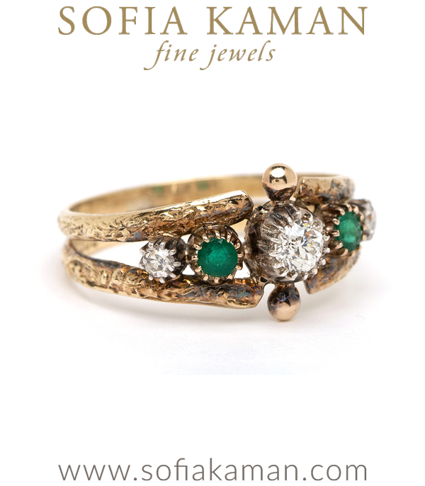 Victorian Diamond Emerald Boho Ring
