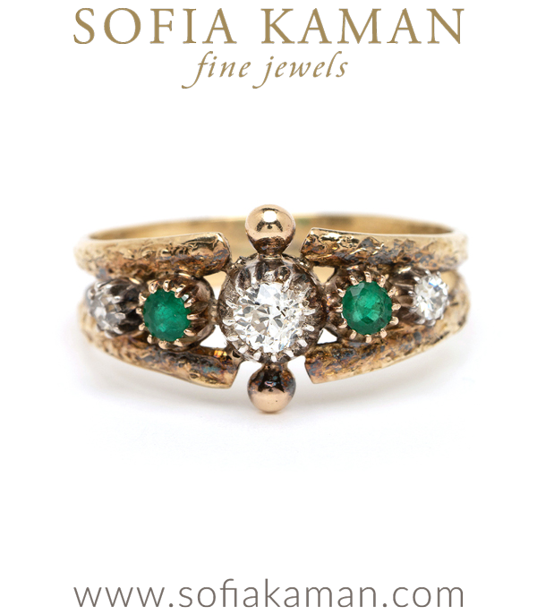 Vintage Victorian 18K Gold Diamond Emerald Collet Boho Stacking Ring curated by Sofia Kaman.