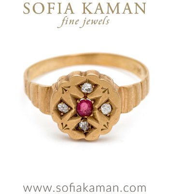 How darling is this 14K Victorian flat top ring with rose cut diamonds and tiny ruby center? A perfect little addition to anyone's jewelry collection.Metal: 14K Yellow GoldSize 6.25 curated by Sofia Kaman