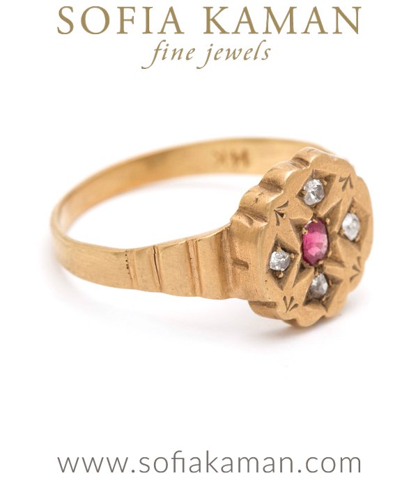 Vintage Victorian Gold Rose Cut Diamond Ruby Petite Ring