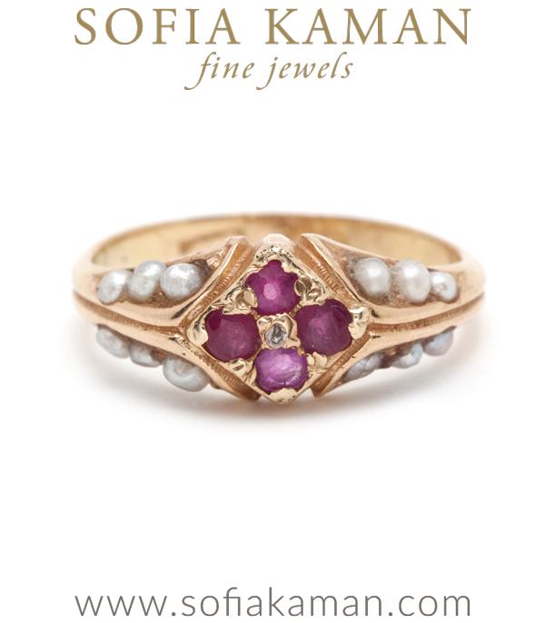 14k Gold Vintage Victorian Pearl Ruby Diamond Pinky Ring