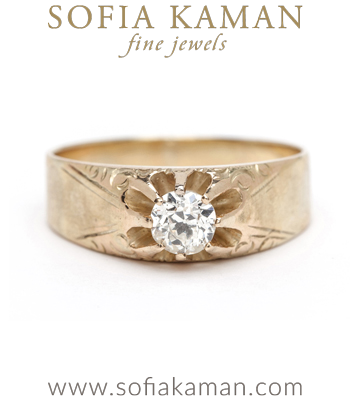 Vintage Victorian Buttercup Diamond Bohemian Engagement Ring