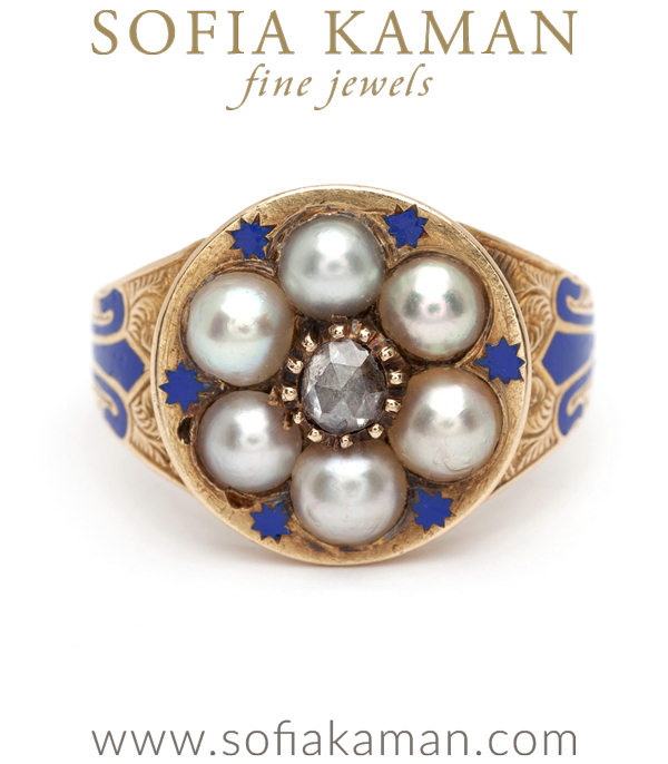 Victorian Forget Me Not Pearl Rose Cut Diamond Enamel Bohemian Vintage Engagement Ring curated by Sofia Kaman.  This piece has been sold and is in Vintage Archive.