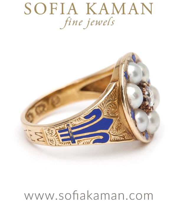 Gold Vintage Victorian Diamond Pearl Ring