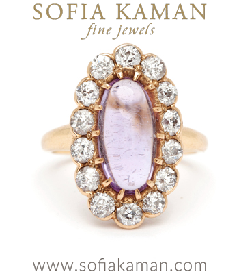 Victorian Amethyst Diamond Halo Nontraditional Vintage Engagement Ring