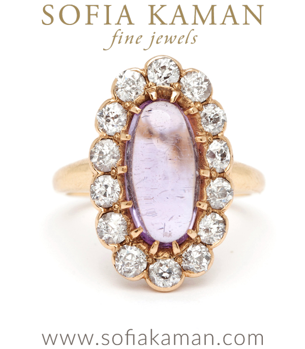Victorian Amethyst Diamond Halo Nontraditional Vintage Engagement Ring curated by Sofia Kaman.  This piece has been sold and is in Vintage Archive.