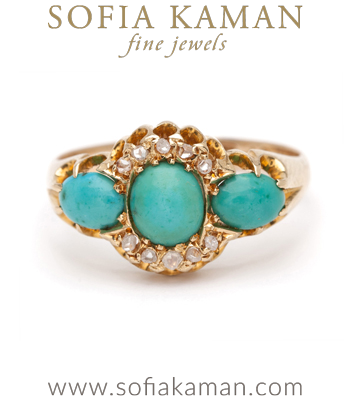 Antique Diamond Turquoise Boho Engagement Ring curated by Sofia Kaman