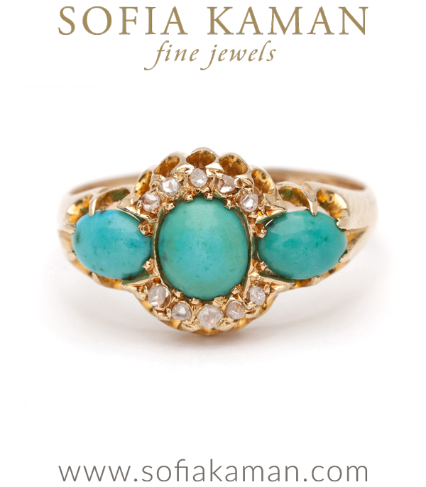Gold Turquoise And Diamond Vintage Victorian Ring