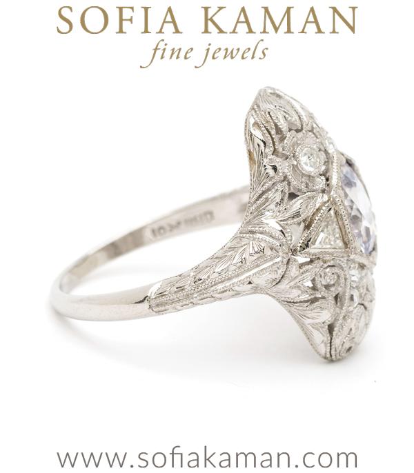 Platinum Vintage Sapphire Statement Ring