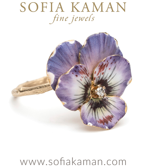 "Ah the language of flowers! The pansy is a long-time symbol of thoughtfulness and love. Taking its name from the French word pensee ""thought,""  it is also used to symbolize free-thinking. This unique ring has been created by re-purposing a beautifully enameled 14K gold pansy stickpin, with a old mine cut diamond center. The exquisite Victorian pansy now perches on our signature twig textured band and makes the most unique (and colorful) stacking ring.What a perfect sentiment to share with a loved one- you are always in my thoughts. Or perhaps the meaning can also be seen as a personal reminder to keep thinking outside the box. What message will it speak to you?Size 6*SOLD* designed by Sofia Kaman handmade in Los Angeles"