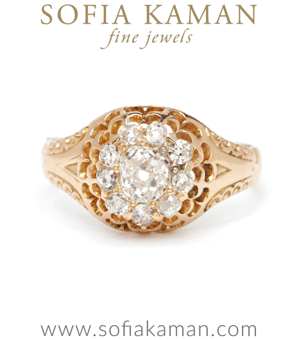 Victorian Double Scallops Diamond Halo Cluster Vintage Engagement Ring curated by Sofia Kaman