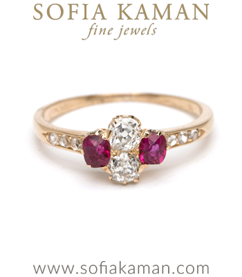 Gold Engagement Rings Vintage Victorian 18K Gold Ruby Old Mine Cut Rose Cut Diamond Boho Engagement Ring curated by Sofia Kaman