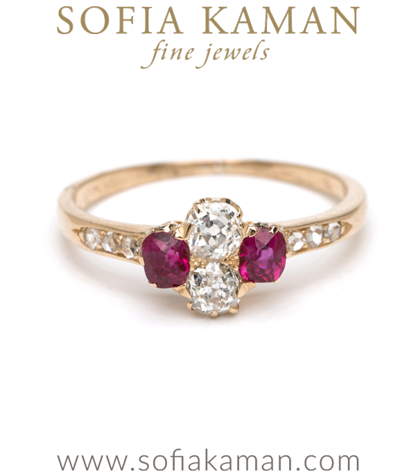 Vintage Victorian 18K Gold Ruby Old Mine Cut Rose Cut Diamond Boho Engagement Ring curated by Sofia Kaman.  This piece has been sold and is in Vintage Archive.