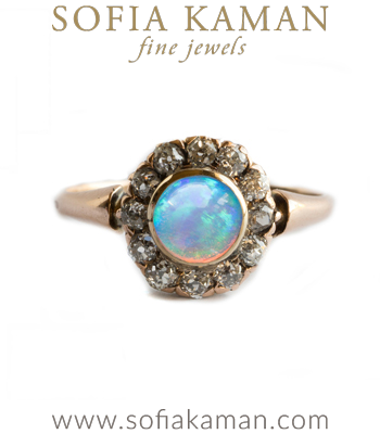 Vintage Victorian Diamond Cluster Opal Boho Stacking Ring curated by Sofia Kaman