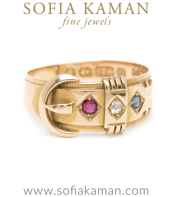 Vintage Victorian 15K Yellow Gold Ruby Diamond Blue Sapphire Buckle Boho Stacking Buckle Ring curated by Sofia Kaman.  This piece has been sold and is in Vintage Archive.