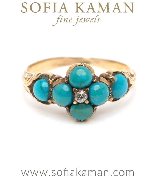 Victorian Antique Inspired Turquoise Forget Me Not Boho Stacking Ring curated by Sofia Kaman.  This piece has been sold and is in Vintage Archive.