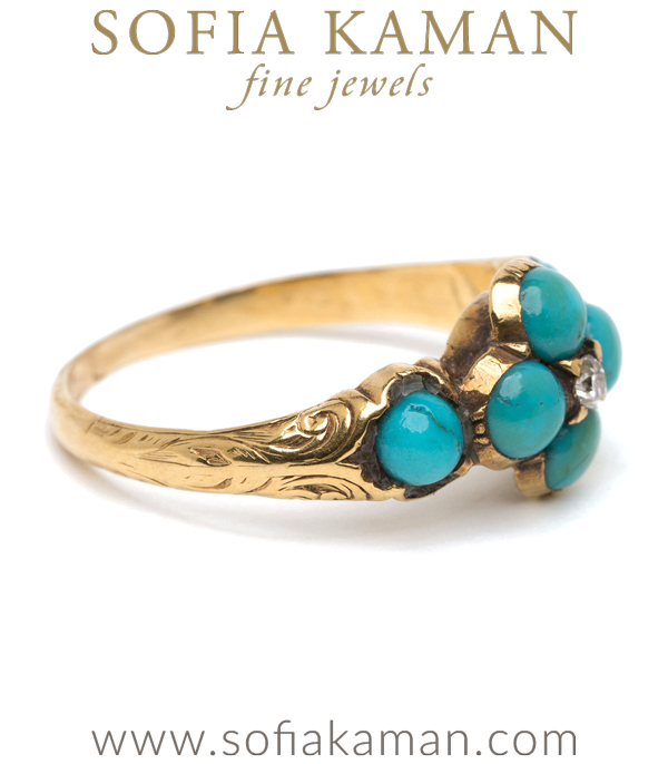 Victorian Antique Inspired Turquoise Forget Me Not Boho Stacking Ring