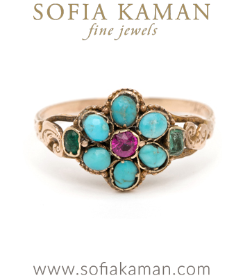 Turquoise, Ruby and Emerald Forget me Not Ring