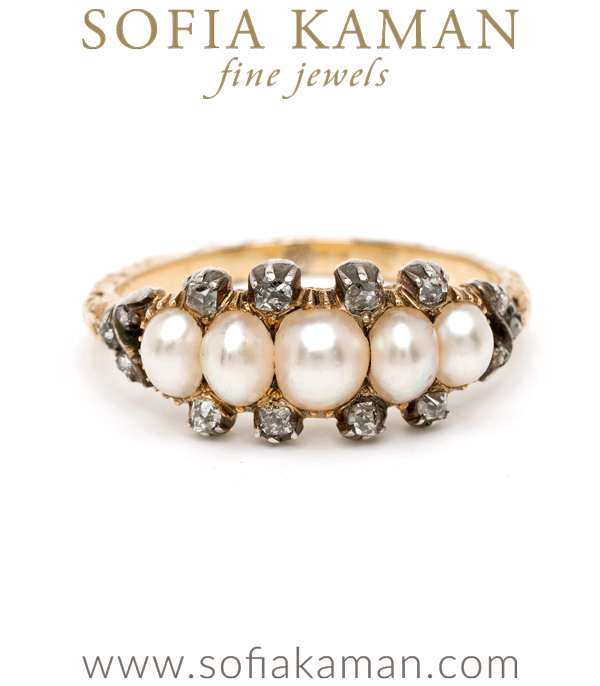Vintage Antique Georgian 18K Gold Pearl Diamond Half Hoop Boho Stacking Ring designed by Sofia Kaman handmade in Los Angeles