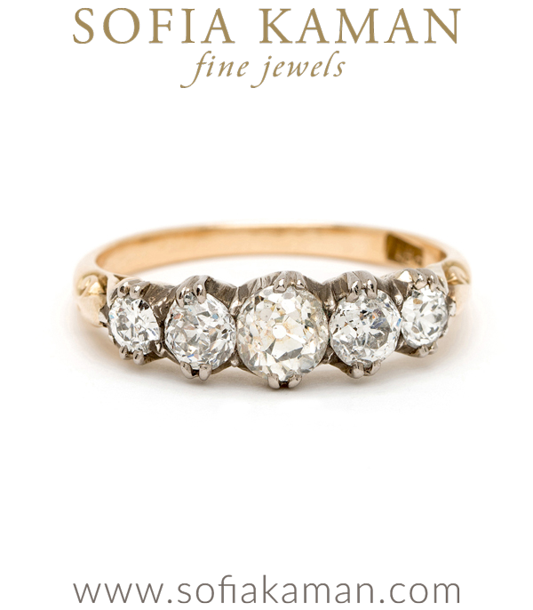 Georgian Vintage 5 Diamond Half Hoop Ring