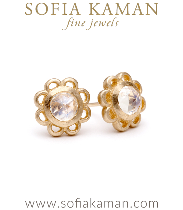 A feminine take on an everyday piece. Matte gold dainty florette studs sparkle with rose cut rainbow moonstone centers. made in Los Angeles