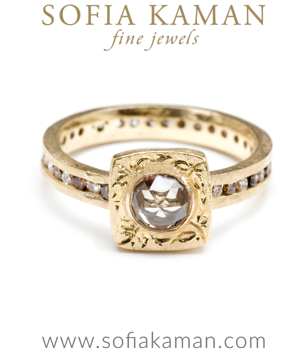 14K Gold Channel Set Champagne Diamond Eternity Band Cushion Cut Solitaire Boho Chic Engagement Ring designed by Sofia Kaman handmade in Los Angeles using our SKFJ ethical jewelry process. This piece has been sold and is in the SK Archive.