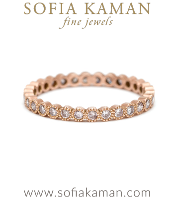 Pink Diamond Rose Gold Bohemian Wedding Band made in Los Angeles