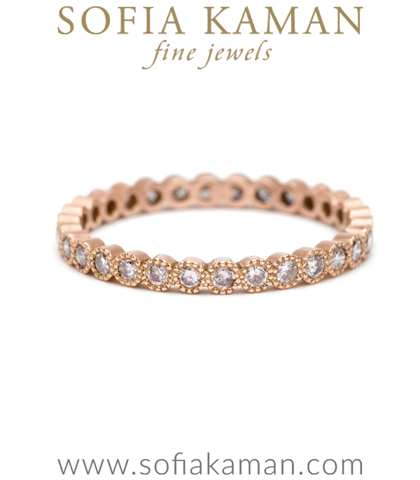 Pink Diamond Rose Gold Bohemian Wedding Band designed by Sofia Kaman handmade in Los Angeles using our SKFJ ethical jewelry process. This piece has been sold and is in the SK Archive.
