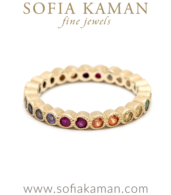 Rose Cut Rainbow Sapphire Bezel Set Boho Stacking Ring Bohemian Wedding Band designed by Sofia Kaman handmade in Los Angeles using our SKFJ ethical jewelry process.
