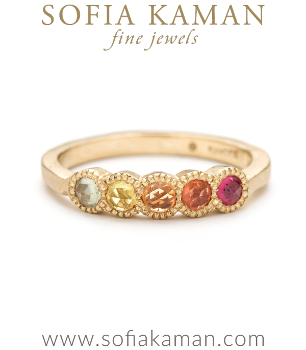 14k Gold 5 Large Bezel Textured Band Rose Cut Rainbow Sapphire Stacking Ring