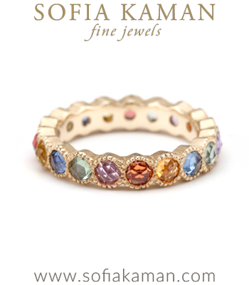 Rose Cut Rainbow Sapphire Bezel Set Unique Wedding Band made in Los Angeles