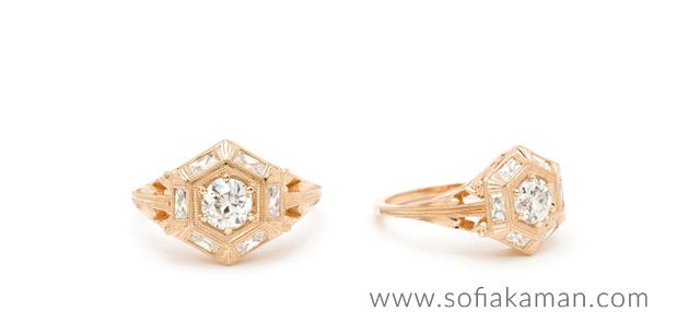 14k Gold Deco Inspired Hexagon Boho Engagement Ring