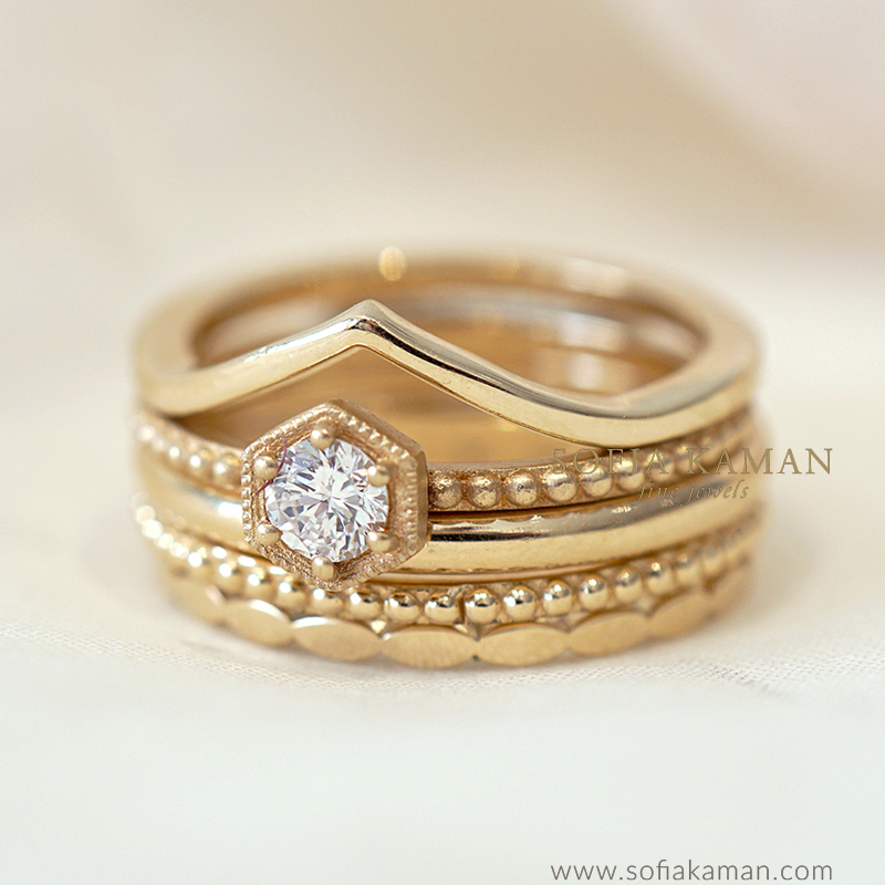 Bohemian Stacking Ring Set by Sofia Kaman