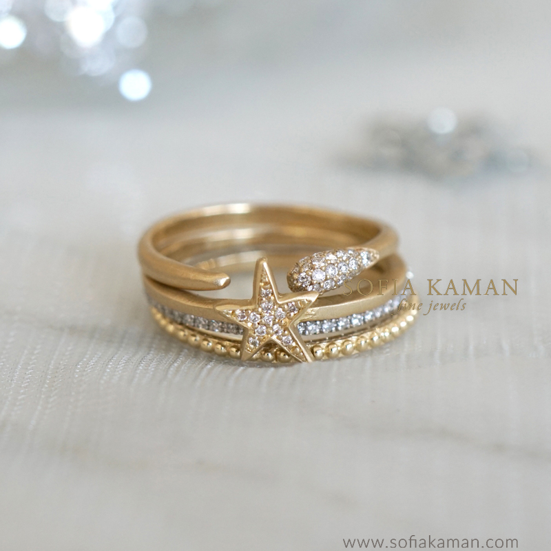 Unique Engagement Rings Stack by Sofia Kaman