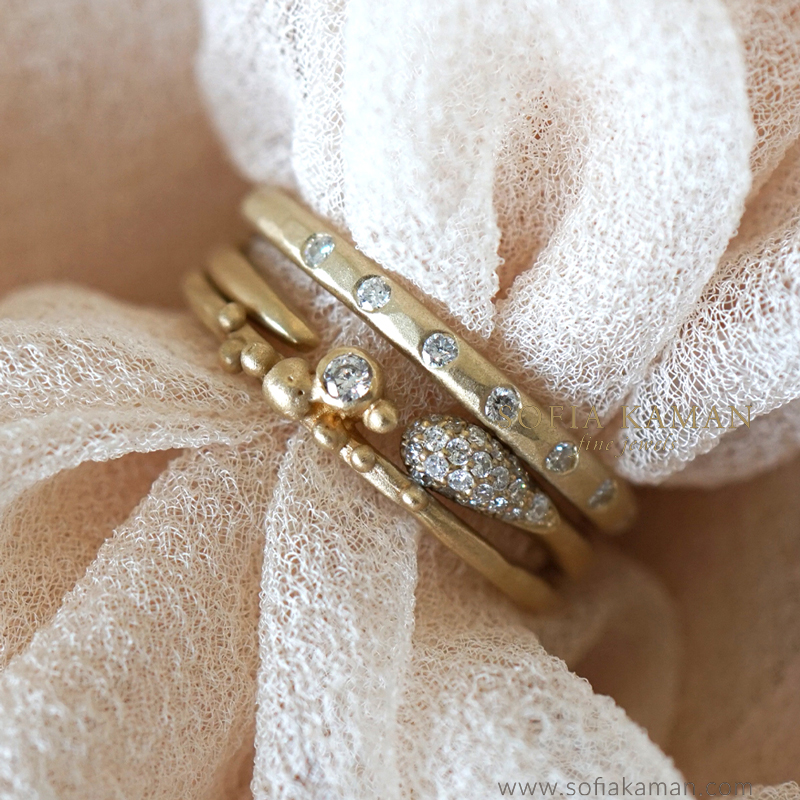 Gold and Diamond Boho Wedding Bands for Engagement Rings by Sofia Kaman