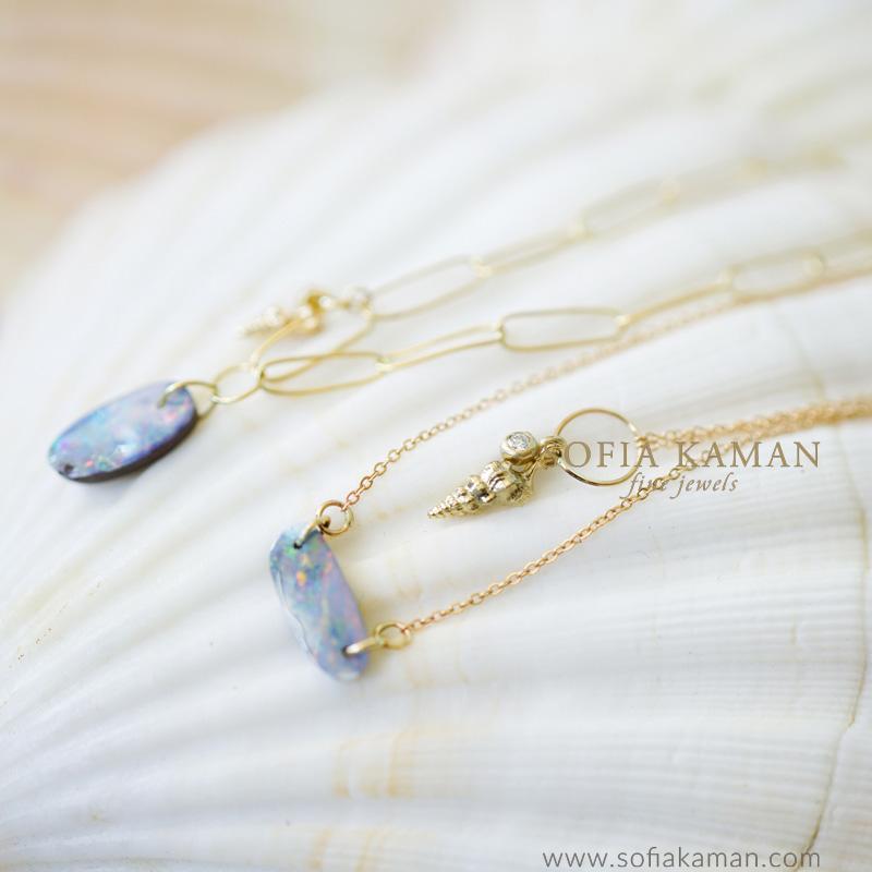 Sofia Kaman Boulder Opal Charm Necklaces